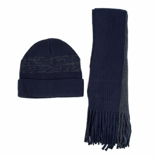 Men/'s Winter Knit Navy Scarf and Beanie Hat Set Faded Stripes Fashionable /& Warm