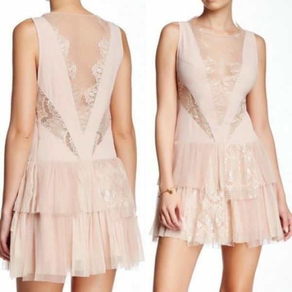 NEW FREE PEOPLE  250 NUDE DOVE TIERED ILLUSION LACE DRESS SZ 8