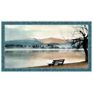 Park-Bench-Lake-Trees-Scenic-Teal-Cotton-Fabric-QT-Artworks-X-24-034-X44-034-Panel