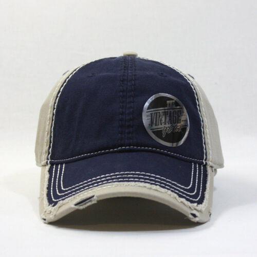 Vintage Washed Cotton Twill Distressed Trim Visor Baseball Cap w// Adjustable