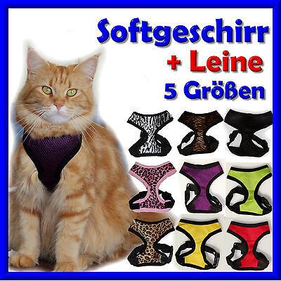 Softgeschirr Katzengeschirr  Welpengeschirr + wahlw. LEINE  * für Freigänger * N