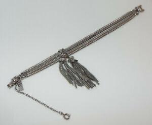 Vintage-signed-MONET-silvertone-double-tassel-chain-BRACELET-costume-jewelry