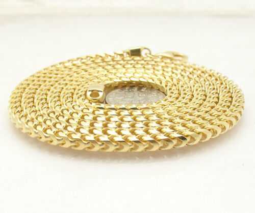 3.6mm Mens Franco Chain Necklace Solid 14K Yellow Gold Clad 925 Silver
