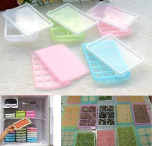 Image is loading Covered-Ice-Cube-Trays-with-lid-Containers-Baby- & Covered Ice Cube Trays with lid Containers Baby Food Ingredients ...