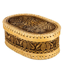 Birch Bark Bread Candy Pastry Box w/ Lid Hand Made Russia Wood Beresta Cones Art