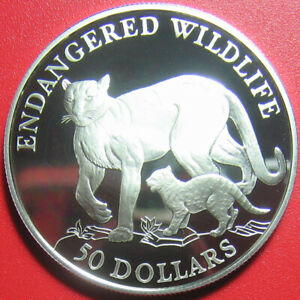 1991-COOK-ISLANDS-50-SILVER-PROOF-COUGAR-amp-CUB-ENDANGERED-WILDLIFE-CAT-FAMILY