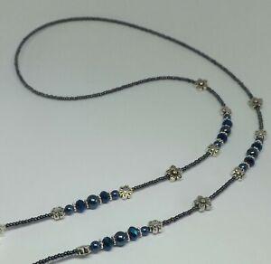 Navy-Blue-Tones-Glass-Beads-Flower-Handmade-Eye-Glasses-Chain-Spectacles-Holder