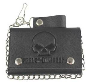 Harley-Davidson-Mens-Willie-G-Skull-Black-Leather-Tri-fold-Chain-Wallet-XML4719