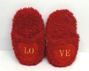 Día de San Valentín presente regalo adorable Fluffy Rojo Zapatillas con el amor con el logotipo muy cómoda