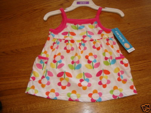 Carter/'s pullover tank top shirt flowers infant baby girl NWT 12 Month NEW ^^