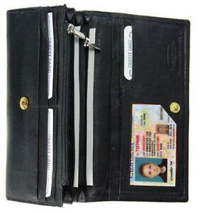 Black Leather Credit Card Checkbook Organizer Women/'s Clutch Wallet New