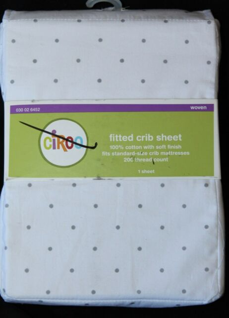 Circo Fitted Crib Sheet gray circles toddler bed sheet cotton new