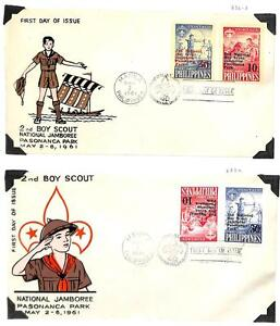 PHILIPPINES BOY SCOUTS SCOTT #832-33a TETE BECHE FDC FIRST DAY COVERS 1961