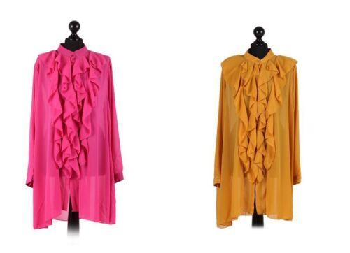 Italian Ladies Lagenlook Quirky Chiffon Ruffle Front Plus Size Shirt Tunic