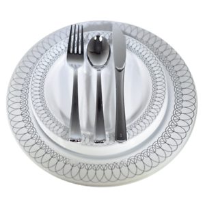 Image is loading Dinner-Wedding-Disposable-Plastic-Plates-&-silverware -Set-  sc 1 st  eBay : wedding plates and silverware disposable - pezcame.com