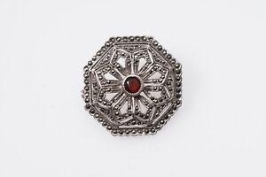 Granat-Markasiten-Brosche-Biedermeier-Tracht-925-Silber-Art-Deco