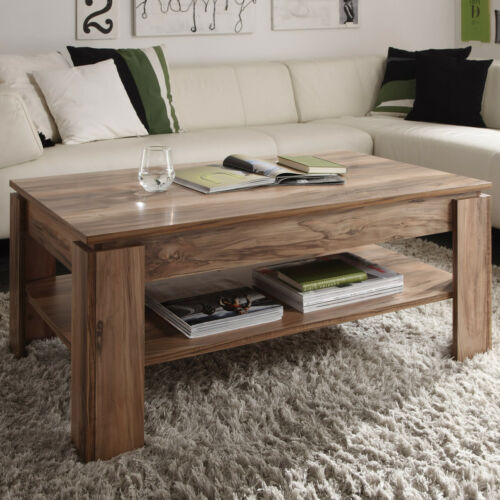 Couchtisch Universal Beistelltisch in Satin Nussbaum Tisch Wohnzimmertisch