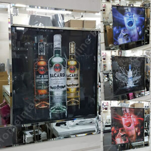 Red-or-Blue-Vodka-alcohol-bottles-with-liquid-art-amp-mirror-frames