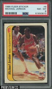1986 Fleer Sticker Basketball #8 Michael Jordan RC Rookie HOF PSA 8 PACK FRESH