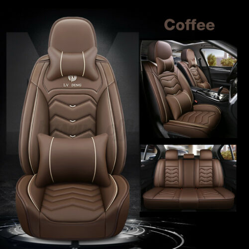 UNIVERSAL PU LEATHER 5-SEATS SUV FRONT /& REAR CAR SEAT COVER CUSHION FULL SET