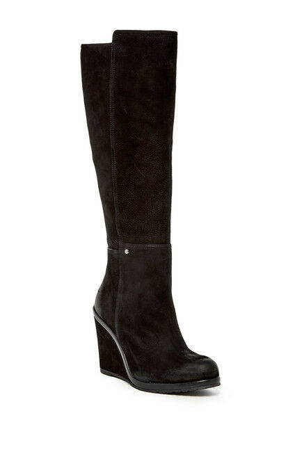 $229 Vince Camuto Justine Black Nubuck Nappa Leather Wedge Knee Hi Boots 8.5 NEW