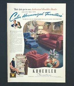 Image Is Loading 1940 Kroehler Furniture Advertisement MCM Living  Room Harmonized