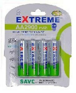 EXTREME-4-x-2900-MAH-AA-RECHARGEABLE-BATTERIES-NI-MH