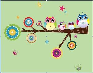 Wandtattoo eule wand sticker kinderzimmer bunt for Sticker wand kinderzimmer