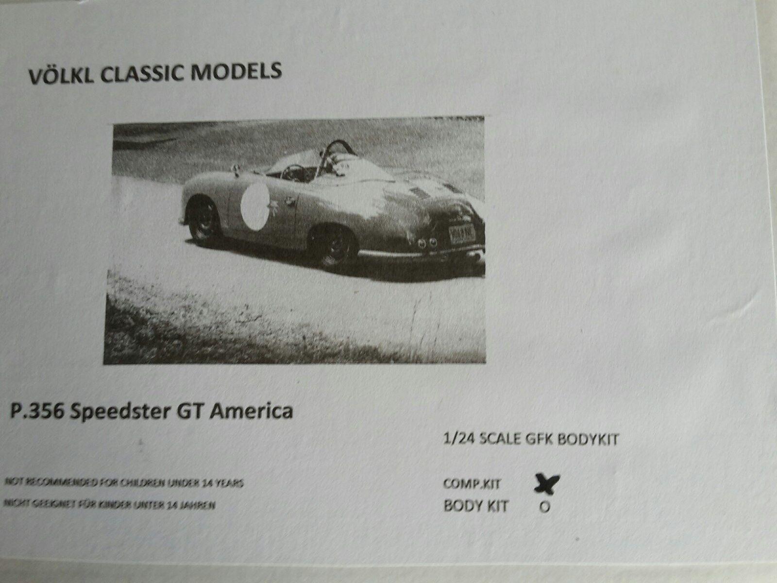1 24 Völkl Classic Autos Porsche 356 Speedster GT America  Static Kit  Neu