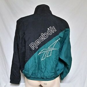 94e4ab6ff2a40 Details about VTG Reebok Windbreaker Jacket 90s Sport Spell Out Coat Shaq  Track Iverson Large