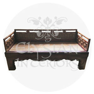 Asian hand carved wood daybed
