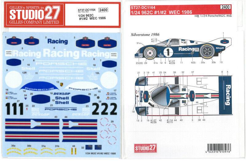 Studio27 1 24 Porsche 962c  1    2 Wec 1986 Hasegawa Dc1164 Calcamonía New F   S