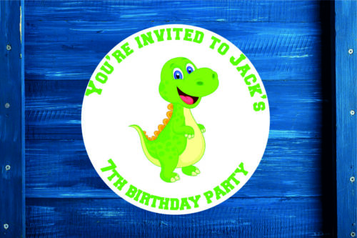 Sticker Label Personalised Birthday Dino Gift Bag Seal Sweet Cone in 4 Sizes