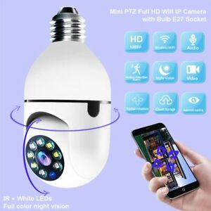 1080P Wireless 360 Rotate Auto Tracking Panoramic Camera Light Bulb Wifi PTZ IP