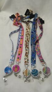 NEW-Patterned-Key-Ring-Lanyard-Badge-Pull-String-feathers-paisley-stars-hearts