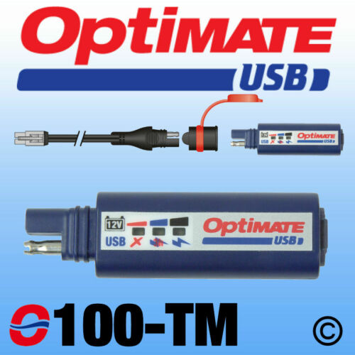 OptiMate Motorcycle USB Charger + O7 SAE to TM Converter