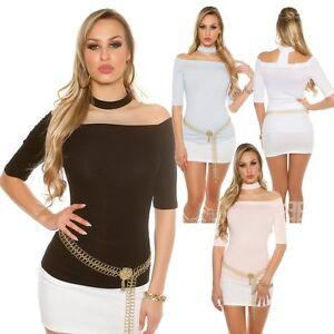 Sexy-T-shirt-donna-maglietta-glamour-scollo-barca-collo-cut-off-manica-3-4-nuova