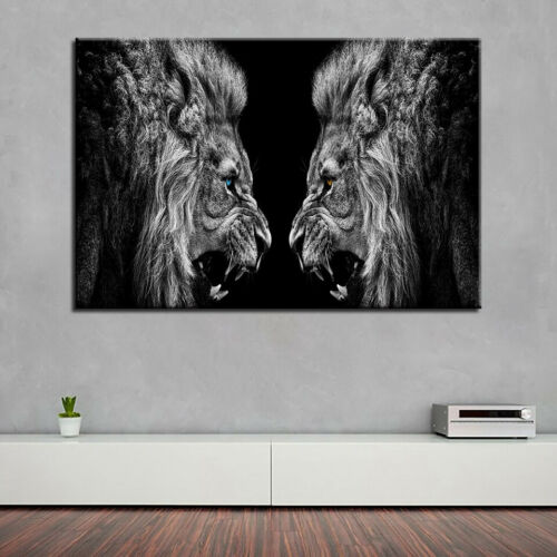 Roaring Lion Mirror Painting 1 Piece Canvas Print Wall Art
