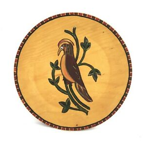 Vintage-Wood-Carved-Folk-Art-Hand-Painted-Plate-Bird-Wall-Hanging-8-1-8-034