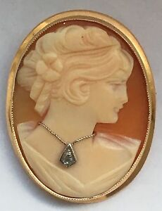 Vintage cameo pendant or brooch wearing diamond necklace 14k gold ebay image is loading vintage cameo pendant or brooch wearing diamond necklace mozeypictures Choice Image