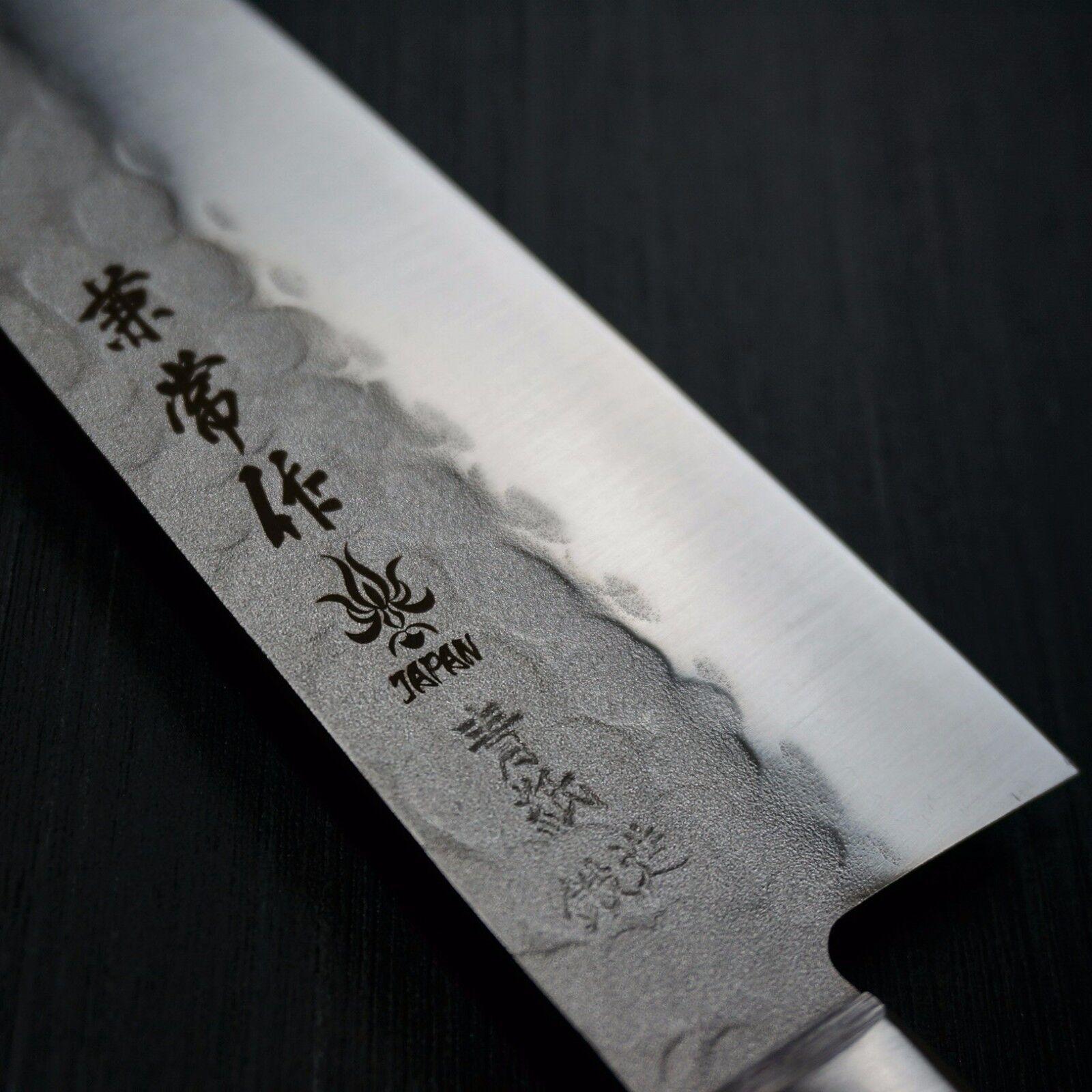 Japanese Kanetsune Nashiji Hammerot Blau Steel AOGAMI  2 Santoku Knife Japan