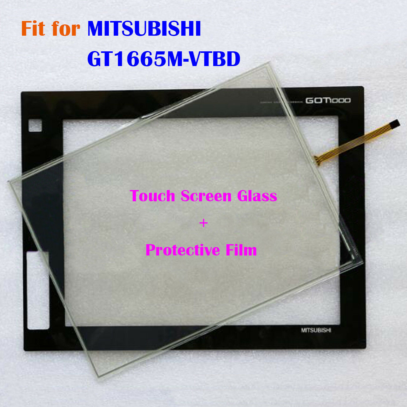 For MITSUBISHI GT1665M-VTBD,GT1665MVTBD Touch Screen Glass + Predective Film New