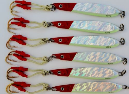 1-20 pieces couteau Jig 3.5oz//100g rouge argent vertical Papillon Saltwater lures