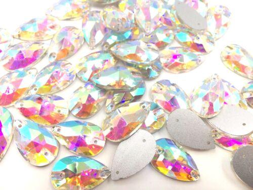 Shiny Teardrop Shape Sew On Glue on Resin Crystals Flat Back Gems Costume 20mm
