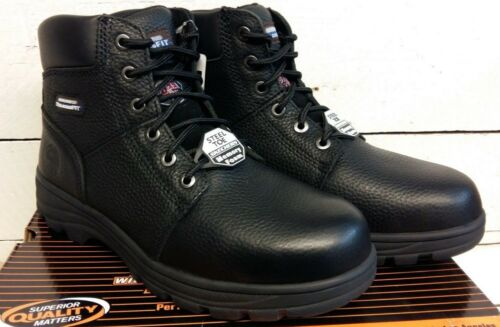 Men/'s Skechers 77009 Workshire Nero Acciaio Puntale Stivali Allacciati sicurezza
