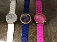 Lot Of 3 Geneva Womens Watches White Pink & Blue Rose Gold Watch Bling