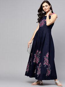 ad12 Women indian kurta kurti Long Maxi Dress top tees bottom  tunic bollywood