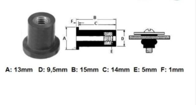 GROMMET THREADED M5 for mounting SCREWS WINDSCREEN for all MOTORRAD MV AGUSTA