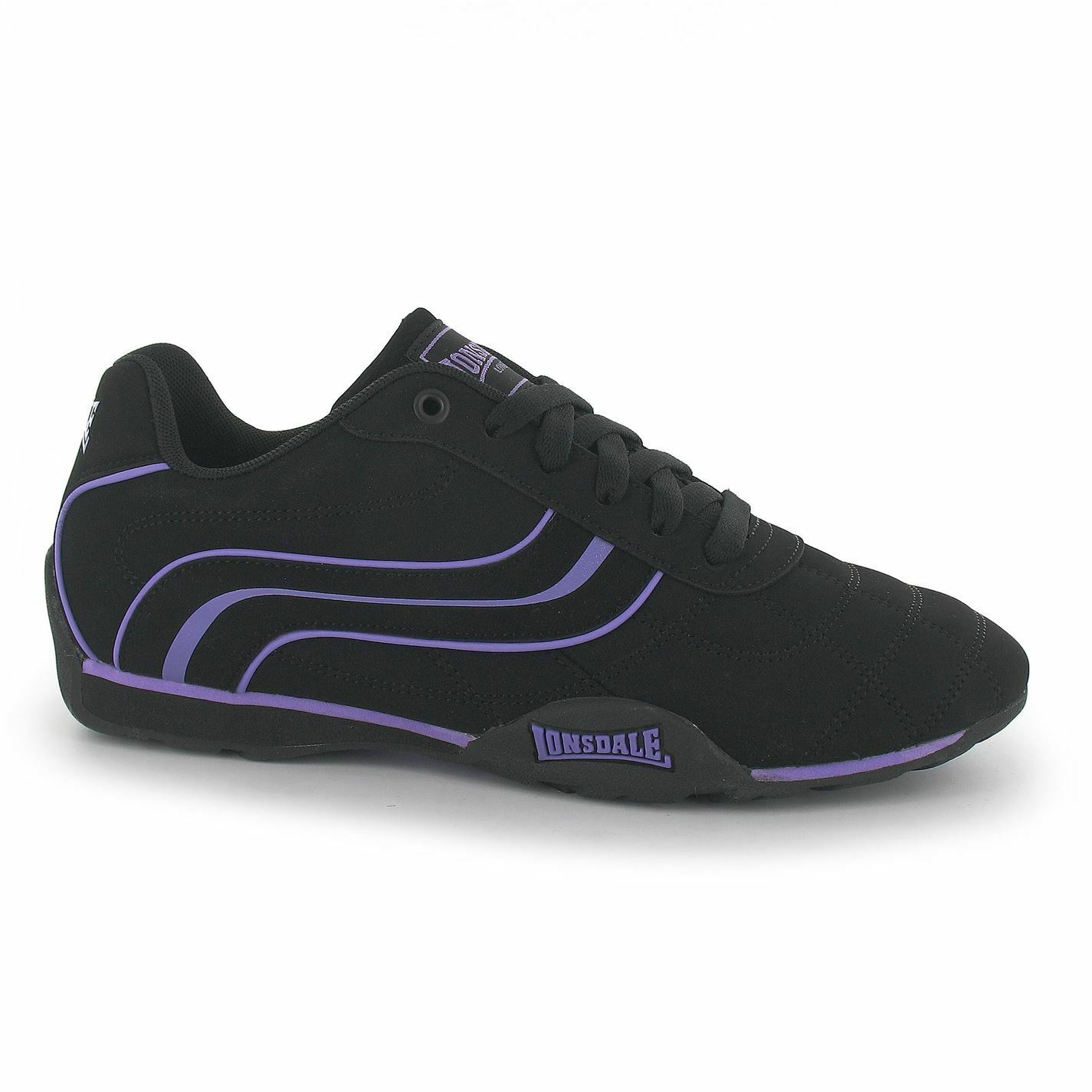 Lonsdale Camden Trainers Womens Black/Purple Casual Fashion Sneakers Shoes