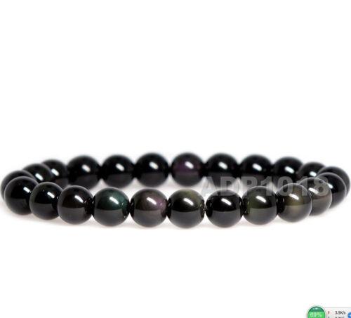 "8mm Grade A Gemstone Semi Precious Round Beads Stretch Bracelet 7"" Unisex"